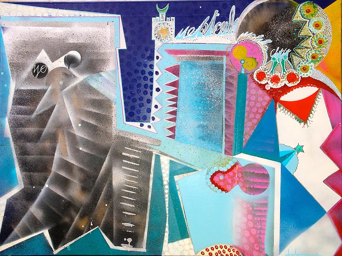 Destiny - toile de lin 97x130 cm peinture graff art tag - Dimension Fantasmic