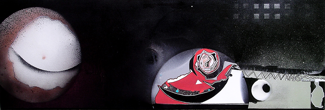 Vampire - Linen canvas 120 x 40 cm Graffiti art painting 2009 - Dimension Fantasmic