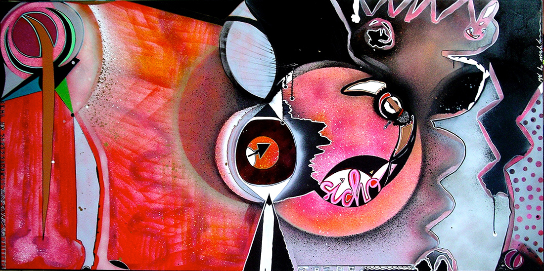 Sicho - Linen canvas 100x200 cm Graffiti art painting 2009 - Dimension Fantasmic