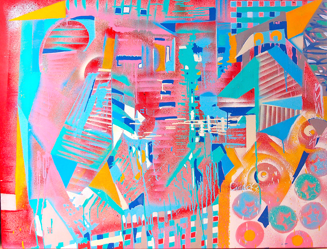 Toy yo-yo, witch's electronic toy - 116x89cm peinture graffiti art tag 2015 - Dimension Fantasmic