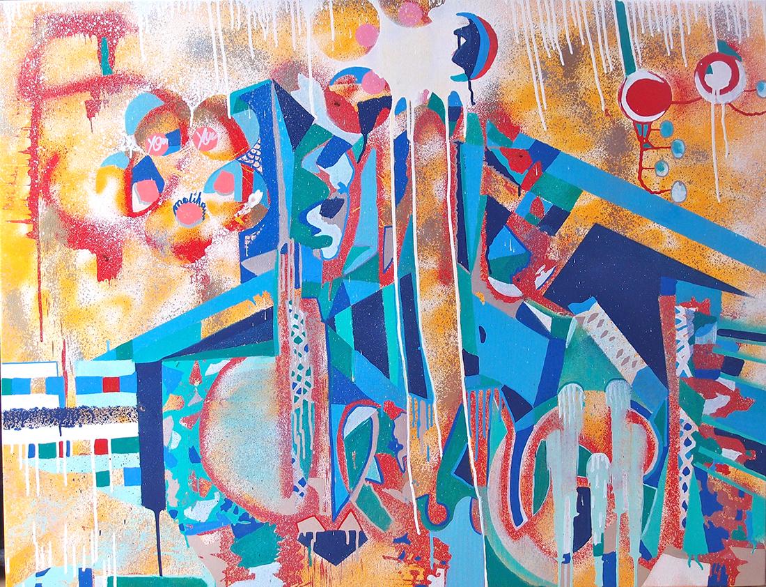Christmas tree - 116 x 89 cm peinture graffiti art tag 2015 - Dimension Fantasmic