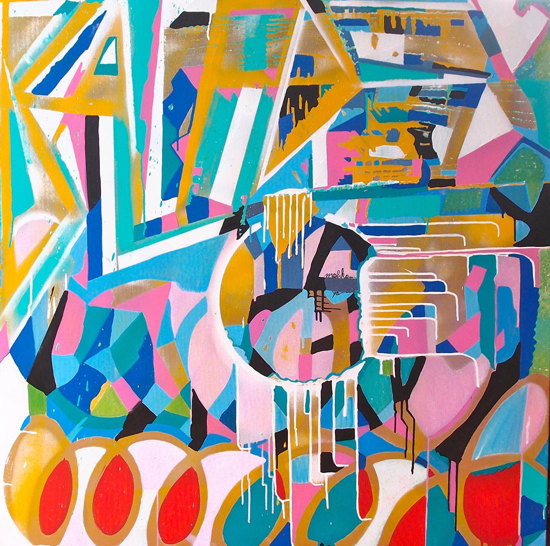 Passion - 100x100cm peinture graffiti art tag 2016 - Dimension Fantasmic