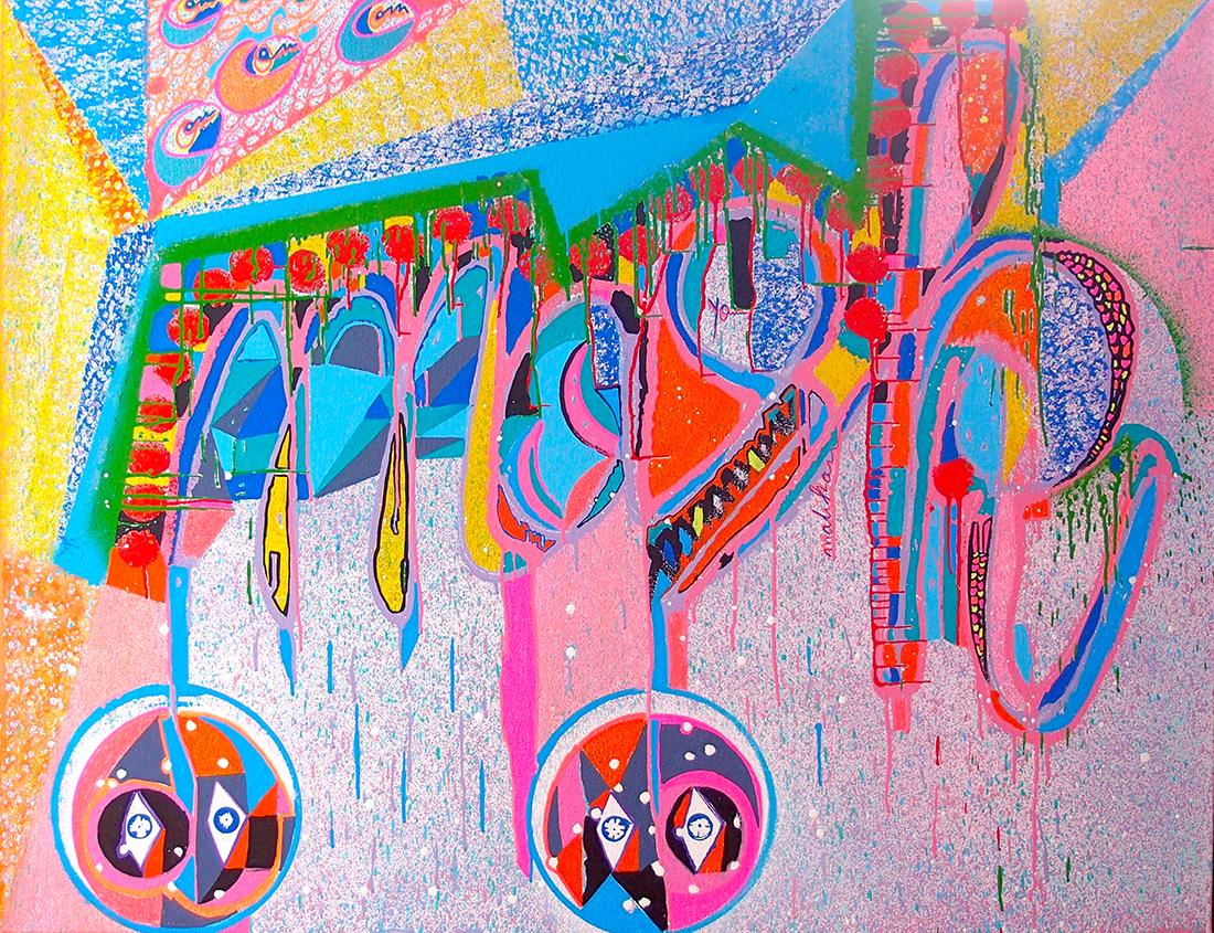 The mirror - 100x100cm peinture graffiti art tag 2016 - Dimension Fantasmic