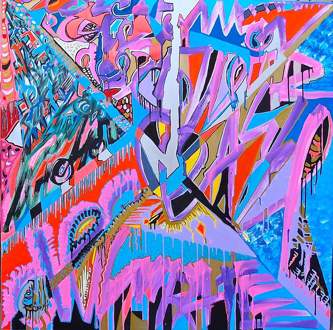 Shooting at vampires - 100x100cm peinture graffiti art tag 2014 - Dimension Fantasmic
