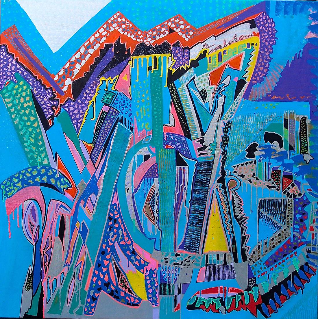 Style - toile de lin 100x100cm peinture graffiti art tag 2014 - Dimension Fantasmic