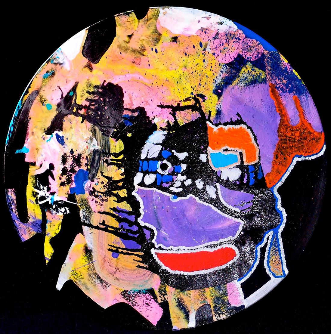 Outer space IV - 33x33cm Graffiti art painting - Dimension Fantasmic