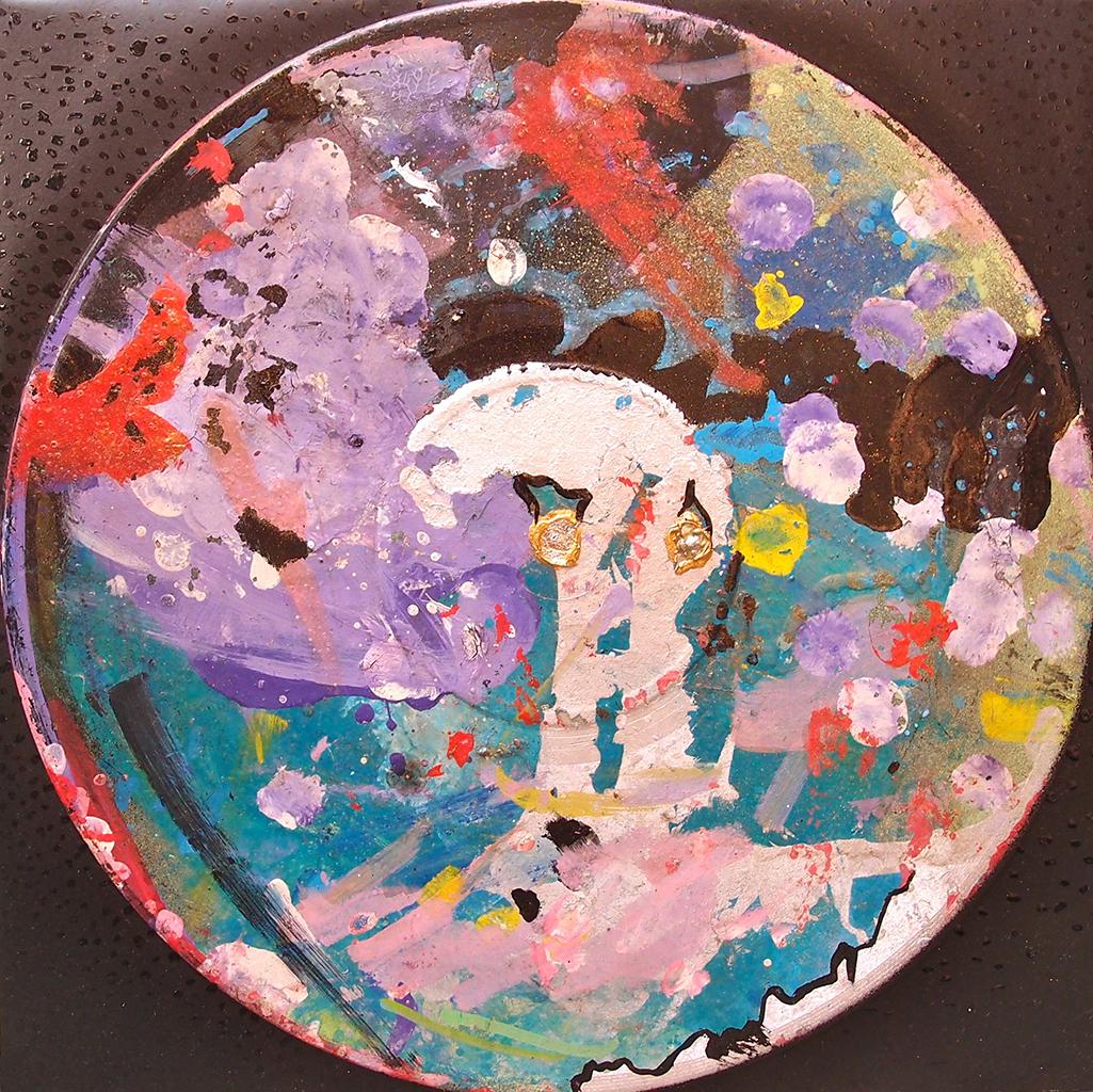 Outer space XV - 33x33cm Graffiti art painting - Dimension Fantasmic