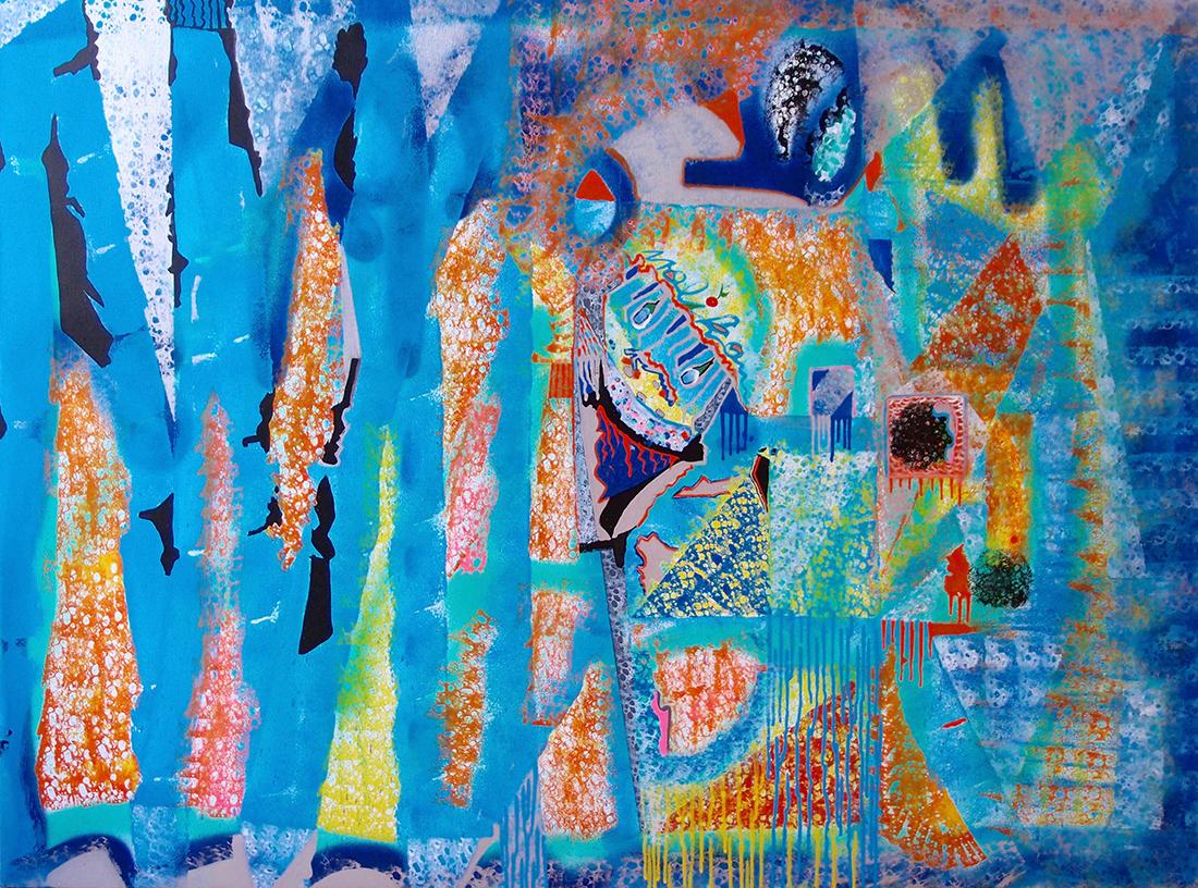When the moon is full and the seas nourish the earth -130x96cm peinture graffiti art tag 2014 - Dimension Fantasmic