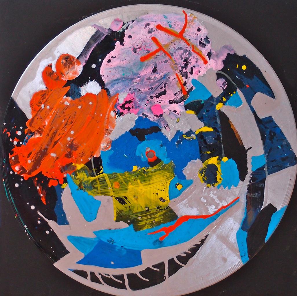 Outer space IX - 33x33cm Graffiti art painting - Dimension Fantasmic