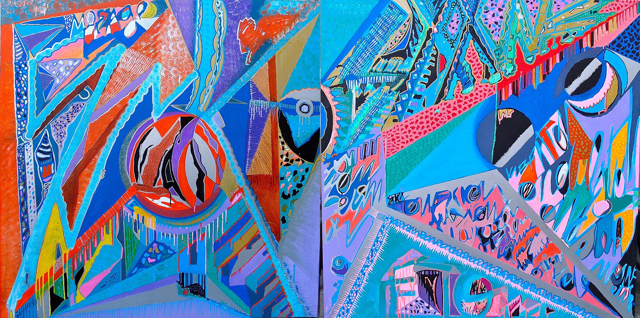 Diptych Earthquake  - 200x200cm peinture graffiti art tag 2014 - Dimension Fantasmic