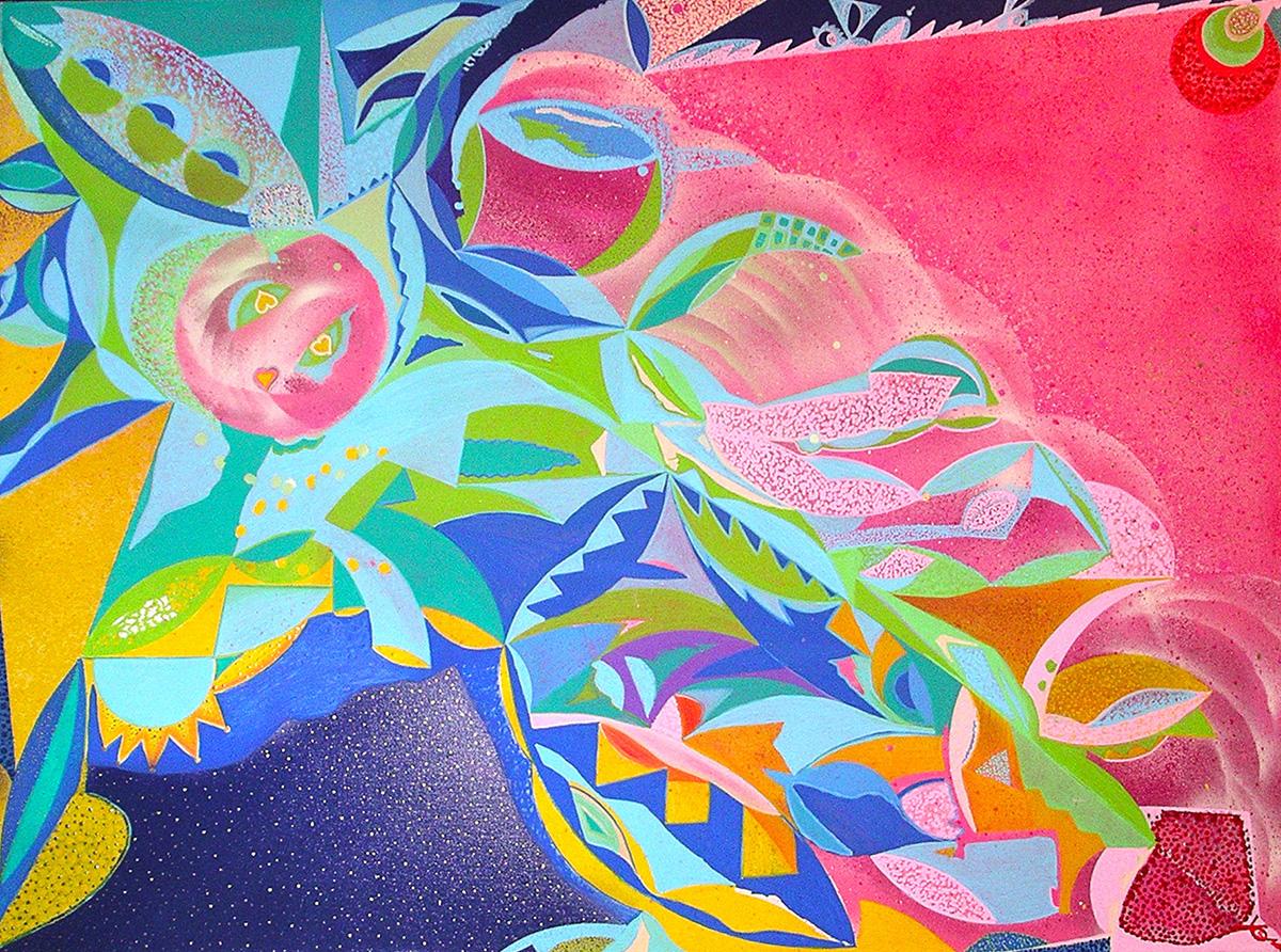 Mental indulgence - toile de lin 97 x 130cm 2011 peinture aérosol art tag - Dimension Fantasmic